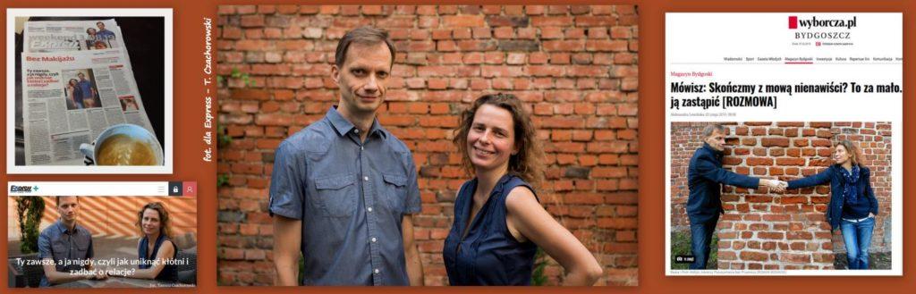 Beata i Piotr Hołtyń stoją razem na tle muru